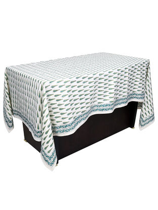 White-Green Hand Block-printed 6 Seater Cotton Table Cover (L:28.35in)