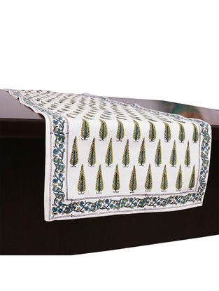 White-Green Hand Block-printed Cotton Table Runner (L:45.28in, W:13.78in)