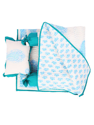 White-Blue Hand Block-printed Cotton Baby Bedding Set (Set of 3) (L:35.43in, W:39.37in)