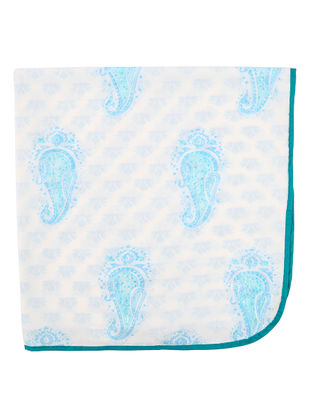 White-Blue Hand Block-printed Cotton Dohar for Baby (L:39.37in, W:39.37in)