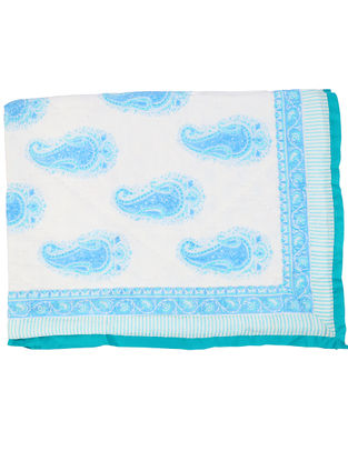 White-Blue Hand Block-printed Cotton Quilt for Baby (L:39.37in, W:47.24in)