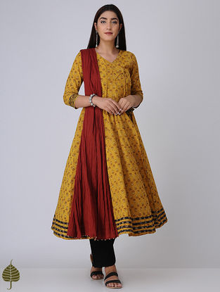 Mustard-Madder Ajrakh Cotton Angrakha with Applique by Jaypore