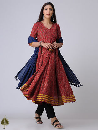 Madder-Indigo Ajrakh Cotton Angrakha with Applique by Jaypore