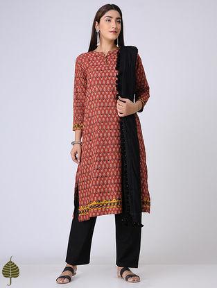 Madder-Indigo Ajrakh Cotton Kurta with Applique by Jaypore
