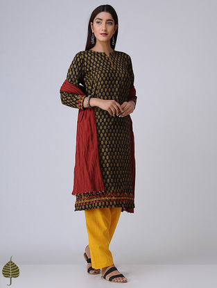 Taupe-Mustard Ajrakh Cotton Kurta with Applique by Jaypore