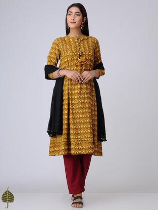 Mustard Pleated Ajrakh Cotton Kurta by Jaypore