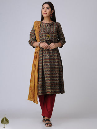 Taupe-Madder Pleated Ajrakh Cotton Kurta by Jaypore