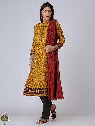 Mustard-Madder Ajrakh Cotton Kurta with Applique by Jaypore