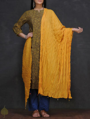Mustard Crinkled Cotton Dupatta by Jaypore