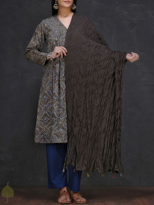 Black Crinkled Cotton Dupatta with Tassels