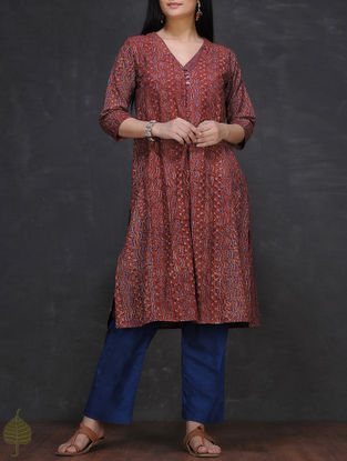 Maroon-Blue Ajrakh-printed V-neck Cotton Kurta with Slip by Jaypore (Set of 2)