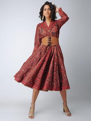 Madder-Black Ajrakh Cotton Dress with Sequin Work