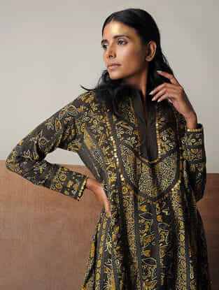 Mustard-Brown Ajrakh Cotton Kurta with Sequin Work by Jaypore