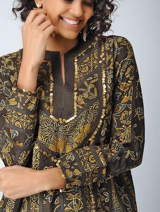 Mustard-Brown Ajrakh Cotton Dress with Sequin Work