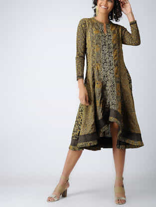 Mustard-Brown Ajrakh Cotton Dress with Top Stitch