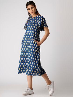 Indigo-Mustard Ajrakh Cotton Slub Dress by Jaypore