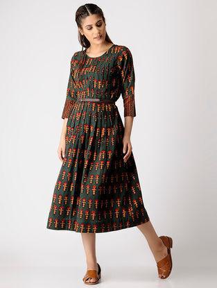 Green-Mustard Ajrakh Cotton Slub Dress by Jaypore