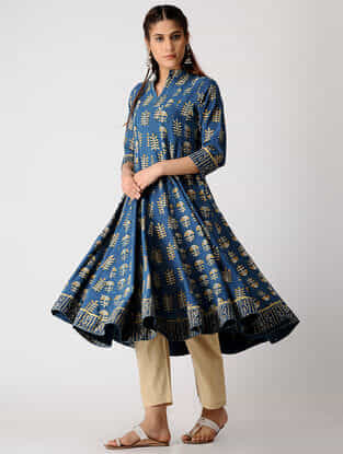 Indigo-Mustard Ajrakh Cotton Slub Kurta by Jaypore