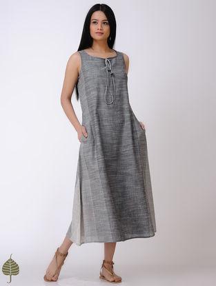 Grey-Ivory Handloom Cotton Dress by Jaypore