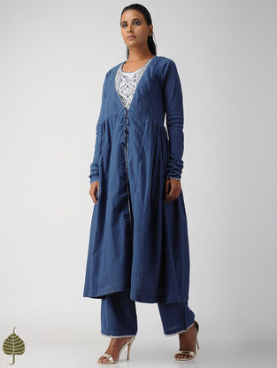 Blue Zari Embroidered Handloom Cotton Kurta