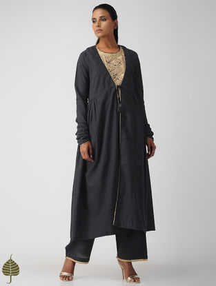 Black Zari Embroidered Handloom Cotton Kurta
