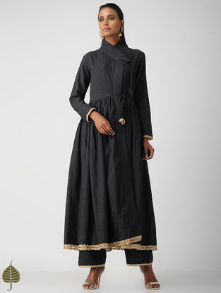 Black Zari Crochet Handloom Cotton Kurta