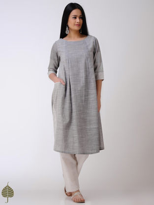 Grey-Ivory Handloom Cotton Kurta by Jaypore