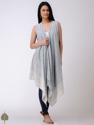 Blue-Ivory Handloom Cotton Shrug by Jaypore