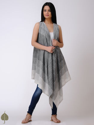 Grey-Ivory Handloom Cotton Shrug by Jaypore