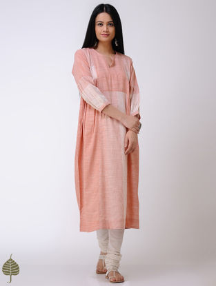 Orange-Ivory Handloom Cotton Kurta by Jaypore