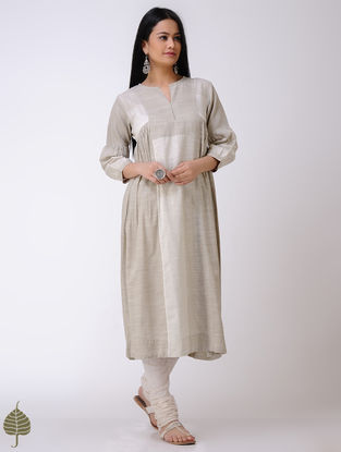 Beige-Ivory Handloom Cotton Kurta by Jaypore
