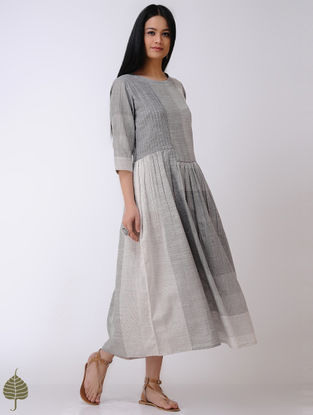 Grey-Ivory Handloom Cotton Dress by Jaypore
