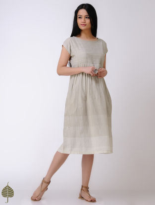 Beige-Ivory Handloom Cotton Dress by Jaypore