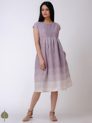 Purple-Ivory Handloom Cotton Dress by Jaypore