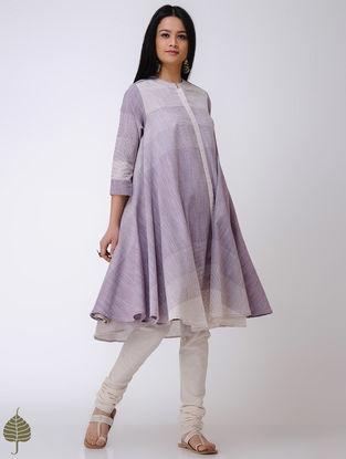Purple-Ivory Handloom Cotton Kurta by Jaypore