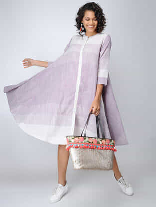 Purple-Ivory Handloom Cotton Dress