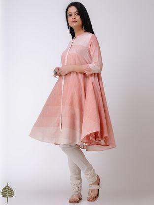 Orange-Ivory Handloom Cotton Kurta by Jaypore