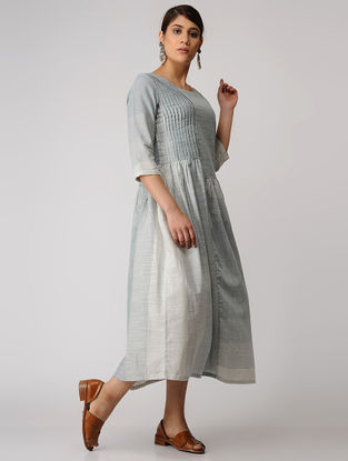 Blue-Ivory Handloom Cotton Dress