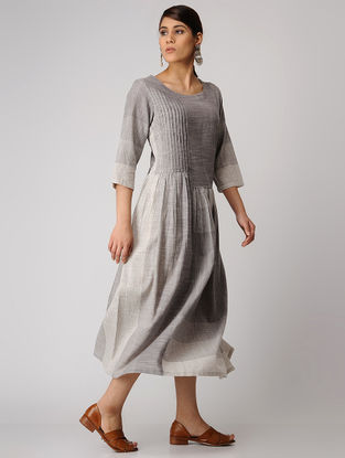 Grey-Ivory Handloom Cotton Dress