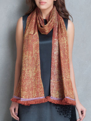 Saffron Printed Silk Cotton Satin Scarf with Tassels by Shades of India