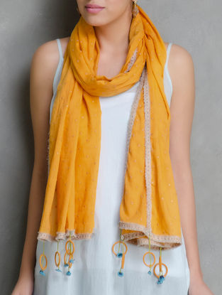 Orange Embroidered and Tassel Detailed Linen-Organdy Stole by Shades of India