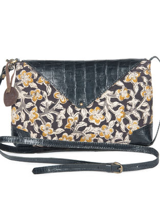 Multicolor Sanganeri Printed Cotton-Leather Sling Bag