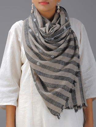 Grey-Black Hand-embroidered Pashmina Stole