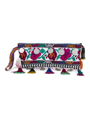 Multicolored Cotton Pouch with Vintage Afghani Embroidery and Coins