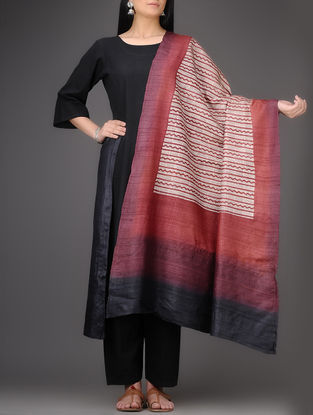 Ivory-Red Block-printed Tussar Silk Dupatta