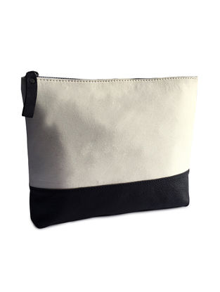 Black-White Leather and Cotton Twill Utility Pouch