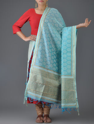 Blue Block-printed Chanderi Dupatta