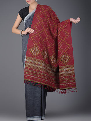Red-Green Natural-dyed Handwoven Wool Shawl