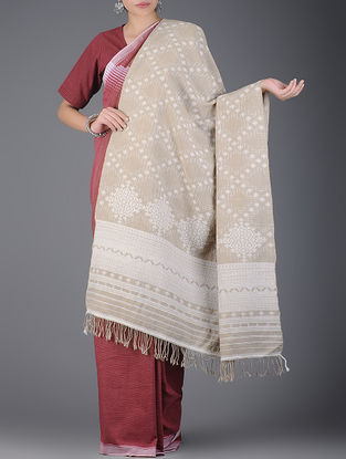 Beige-Ivory Natural-dyed Handwoven Wool Shawl