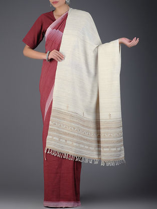 Ivory-Beige Silk Wool Shawl
